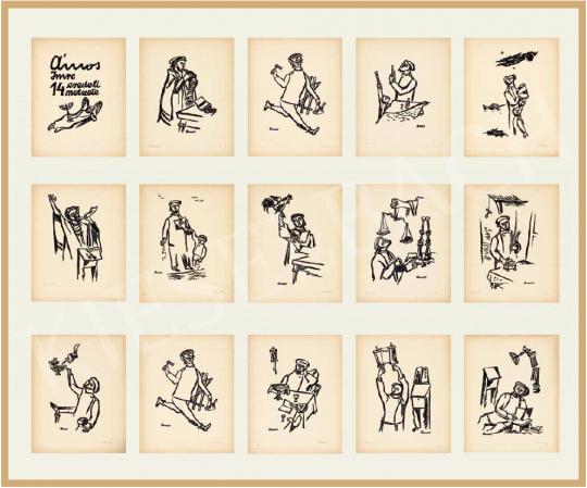 Ámos Imre - Zsidó ünnepek, 1940 (Ámos Imre 14 eredeti metszete) | 54. Téli aukció aukció / 3 tétel