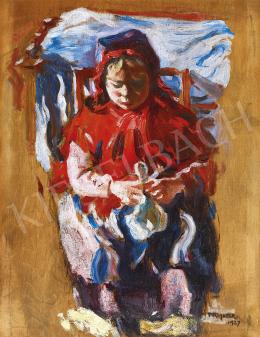 Perlmutter Izsák - Kislány babával, 1927