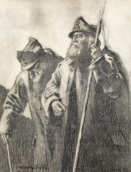 Vaszary János - 1848-as honvéd veteránok -1848-49, a magyar szabadságharc című könyv borítójához készült rajz, 1902 | 54. Téli aukció aukció / 39 tétel