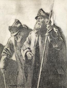 Vaszary János - 1848-as honvéd veteránok -1848-49, a magyar szabadságharc című könyv borítójához készült rajz, 1902