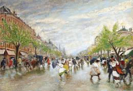 Berkes Antal - Boulevard tavaszi zápor után, 1915