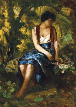 Iványi Grünwald Béla - Lány virágcsokorral (Tisztáson), 1930-as évek