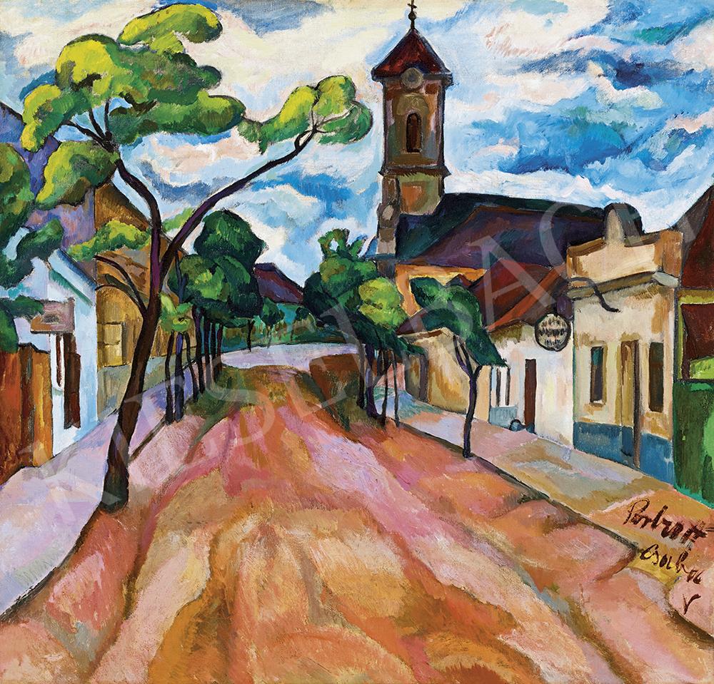 6058a546107d Perlrott Csaba Vilmos - Kisváros kék felhőkkel, 1913-14 | 54. Téli ...