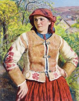 Glatz, Oszkár - Young Girl in Spring Landscape, 1943