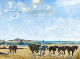 Réth Alfréd - Normandiai tengerpart vitorlásokkal, 1916 körül