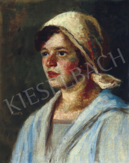 Koszta, József - Girl in Blue Blouse (Annuska) c. 1920