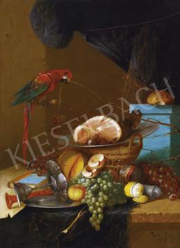 Zeller Mihály - Gyümölcscsendélet papagájjal, 1896