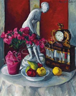 Perlrott Csaba, Vilmos - Still-Life with Statuette, Clock, 1918