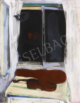 Bernáth Aurél - Éjszaka lepkékkel I. (Csendélet hegedűvel), 1929