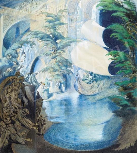 Jaschik Álmos - A vitorlás (A szerelemhajó érkezése), 1920 körül | 54. Téli aukció aukció / 117 tétel