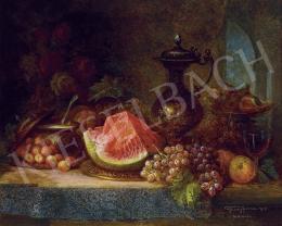 Ujházy Ferenc - Csendélet szőlővel, gyümölcsökkel, boroskancsóval, 1916