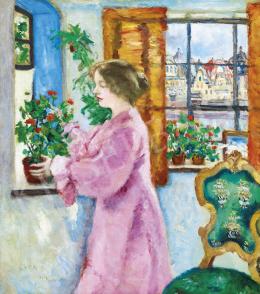 Csók István - Virágos ablaknál (Kilátás a városra), 1917