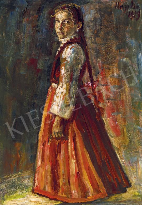 Nagy István - Fiatal lány vörös szoknyában (Tekintet), 1913 | 54. Téli aukció aukció / 141 tétel
