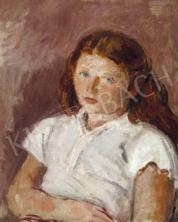 Berény Róbert - Vörös hajú kislány fehér blúzban