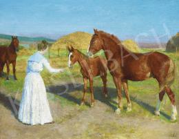 Glatz, Oszkár - Lady in White Dress with Horses, c. 1905