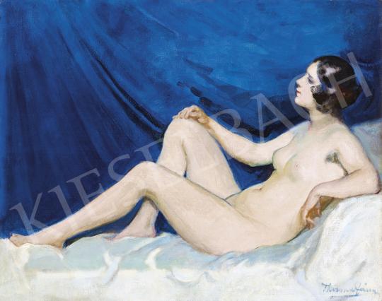 Thorma János - Fiatal lány (Akt kék drapériával) | 54. Téli aukció aukció / 153 tétel