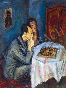 Berény Róbert - Sakkozó pár (Breuer Eta és Weiner Leó), 1930 körül