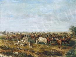 Klette Károly - Ménes az Alföldön, 1863