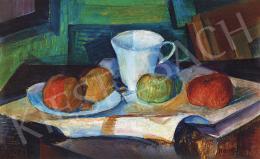 Kmetty János - Csendélet csészével és almákkal