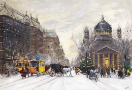 Berkes Antal - Téli Budapesti utca fiákerekkel, 1913