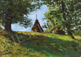 Unknown Hungarian painter, early 1900s - Nagybánya Landscape with Hay Stacks