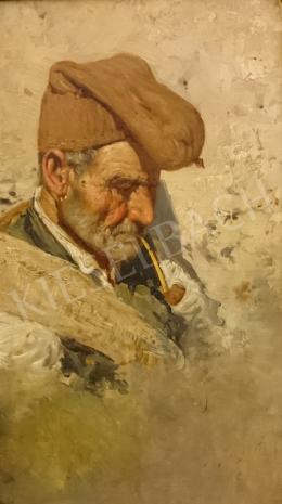Ismeretlen festő - Pipázó olasz halász