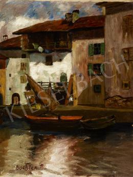 Ismeretlen festő Buchler R. jelzéssel - Csónak házakkal
