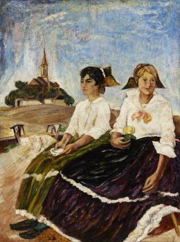 Ismeretlen magyar festő - Fehérblúzos lányok