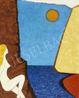 Ismeretlen magyar festő Monostori jelzéssel, 20. század harmadik harmada - Vitrolás, tenger, napfény