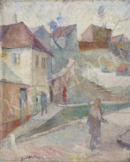 Ismeretlen magyar festő Szilágyi jelzéssel - Házak a domboldalon, 1910