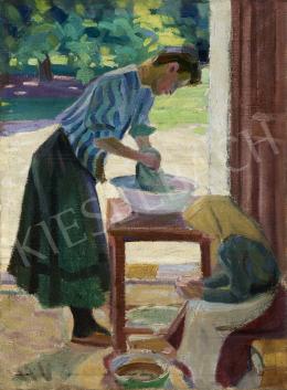 Ismeretlen magyar festő, 1910 körül - Udvaron