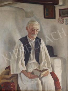Ismeretlen festő - Olvasó férfi népviseletben