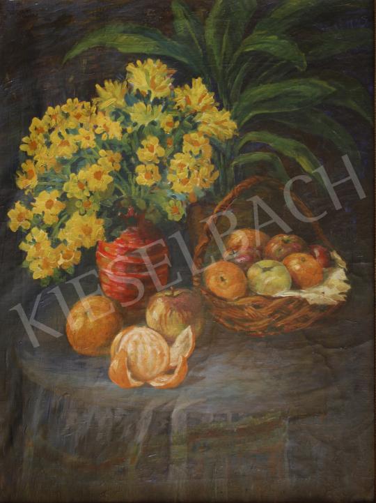 Eladó  Ismeretlen festő Végvári jelzéssel - Virágcsendélet gyümölcskosárral és naranccsal festménye