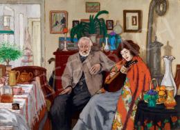 Rippl-Rónai József - Piacsek bácsi és Lazarine (Öregúr és mandolinozó asszony), 1905