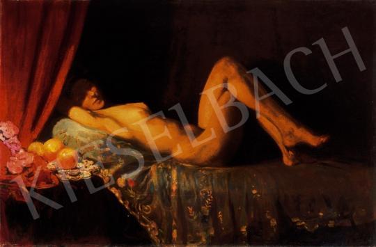 Herrer Cézár - Akt vörös drapériával | 24. Aukció aukció / 176 tétel
