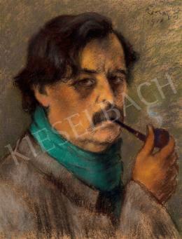 Rippl-Rónai József - Pipázó önarckép, 1918