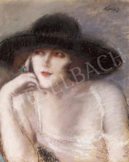 Rippl-Rónai József - Zorka fekete kalapban, 1920-as évek