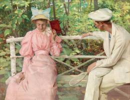 Vaszary János - Padon ülő pár, 1892 körül