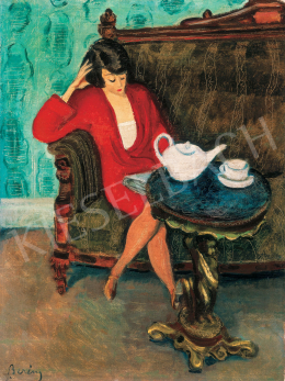 Berény Róbert - Piros ruhás nő zöld szobában (Reggeli), 1920-as évek vége