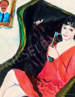 Frank Frigyes - Fotelben ülő vörös ruhás Mimi, 1929