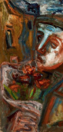 Ámos Imre - Önarckép virágcsokorral