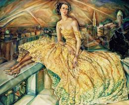 Batthyány Gyula - Előkelő hölgy képmása háttérben az esti Budapesttel (1930-as évek)