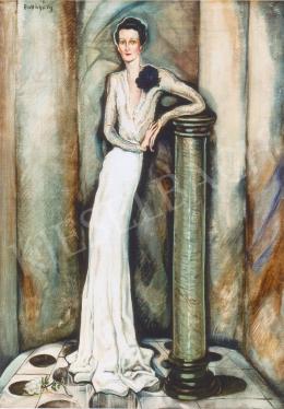 Batthyány Gyula - Oszlopra támaszkodó nő (1935 körül)