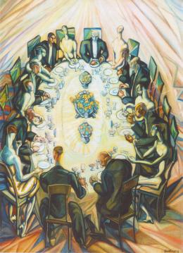 Batthyány Gyula - Társaság asztal körül (1930-as évek eleje)