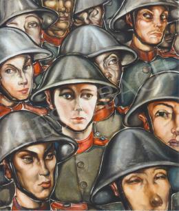 Batthyány Gyula - Katonák rohamsisakban (1935 körül)