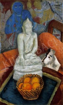 Vörös, Géza - Still-Life with Oranges and a Buddha Sculpure