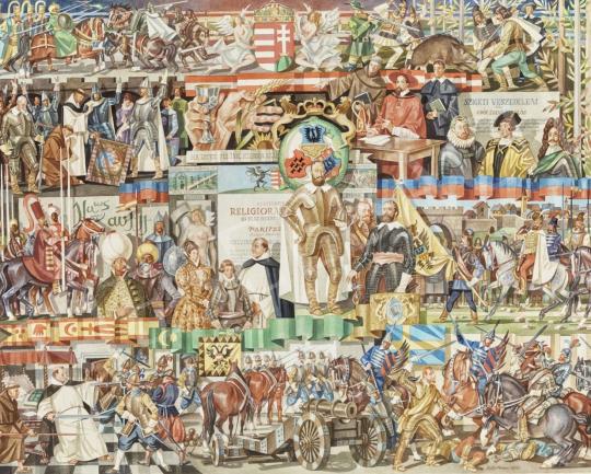 Eladó  Kósa Ferenc - Az ország három részre szakadása: Erdély, a Királyi Magyarország és a Török hódoltság, 1976 - 5 DB festménye