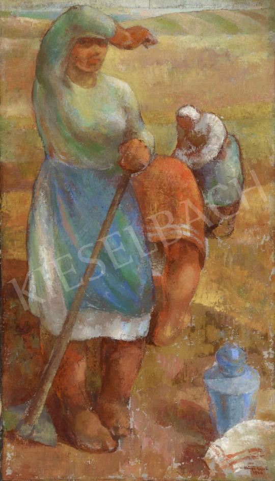 Eladó  Hiripi Gyula - Kapálók a mezőn festménye