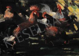 Kieselbach Géza - Kakas tyúkokkal, 1961