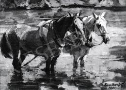 Kieselbach Géza - Két ló a vízben, 1931